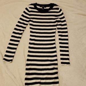 Forever 21 Dresses - Navy and White Striped Bodycon Sweater Dress